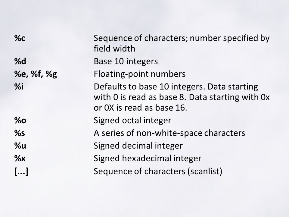 %cSequence of characters; number specified by field width %dBase 10 integers %e, %f, %gFloating-point numbers %iDefaults to base 10 integers.