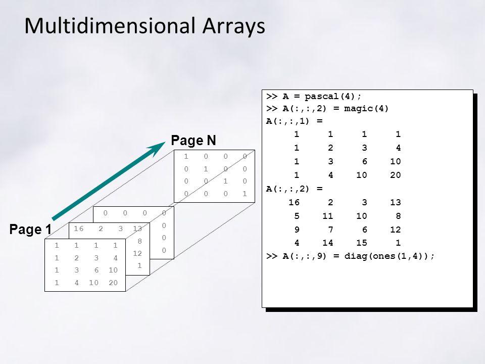 1 0 0 0 0 1 0 0 0 0 1 0 0 0 0 1 Multidimensional Arrays >> A = pascal(4); >> A(:,:,2) = magic(4) A(:,:,1) = 1 1 1 1 1 2 3 4 1 3 6 10 1 4 10 20 A(:,:,2) = 16 2 3 13 5 11 10 8 9 7 6 12 4 14 15 1 >> A(:,:,9) = diag(ones(1,4)); >> A = pascal(4); >> A(:,:,2) = magic(4) A(:,:,1) = 1 1 1 1 1 2 3 4 1 3 6 10 1 4 10 20 A(:,:,2) = 16 2 3 13 5 11 10 8 9 7 6 12 4 14 15 1 >> A(:,:,9) = diag(ones(1,4)); Page N Page 1 0 0 0 0 16 2 3 13 5 11 10 8 9 7 6 12 4 14 15 1 1 1 1 1 1 2 3 4 1 3 6 10 1 4 10 20