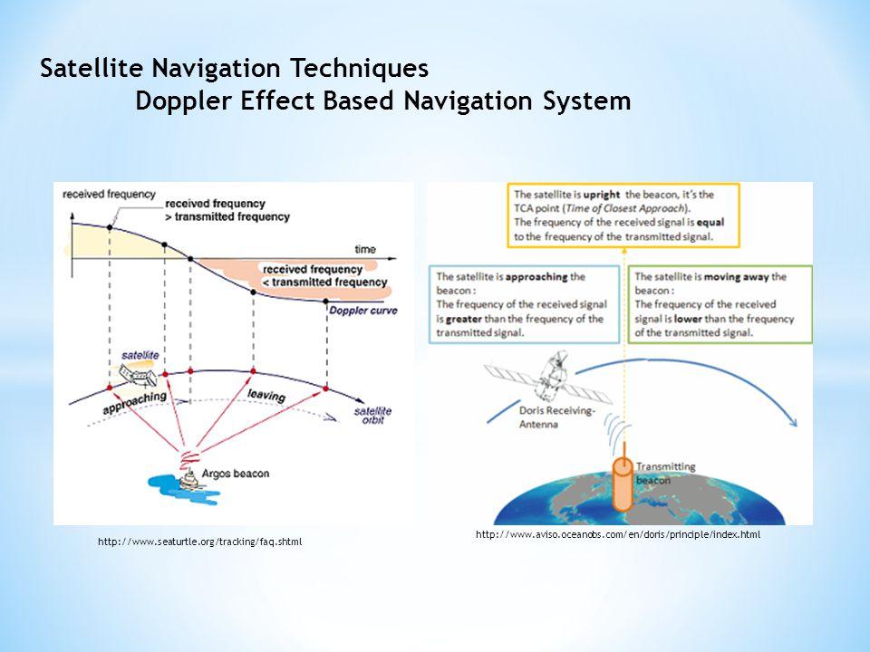 Satellite Navigation Techniques Doppler Effect Based Navigation System http://www.seaturtle.org/tracking/faq.shtml http://www.aviso.oceanobs.com/en/doris/principle/index.html