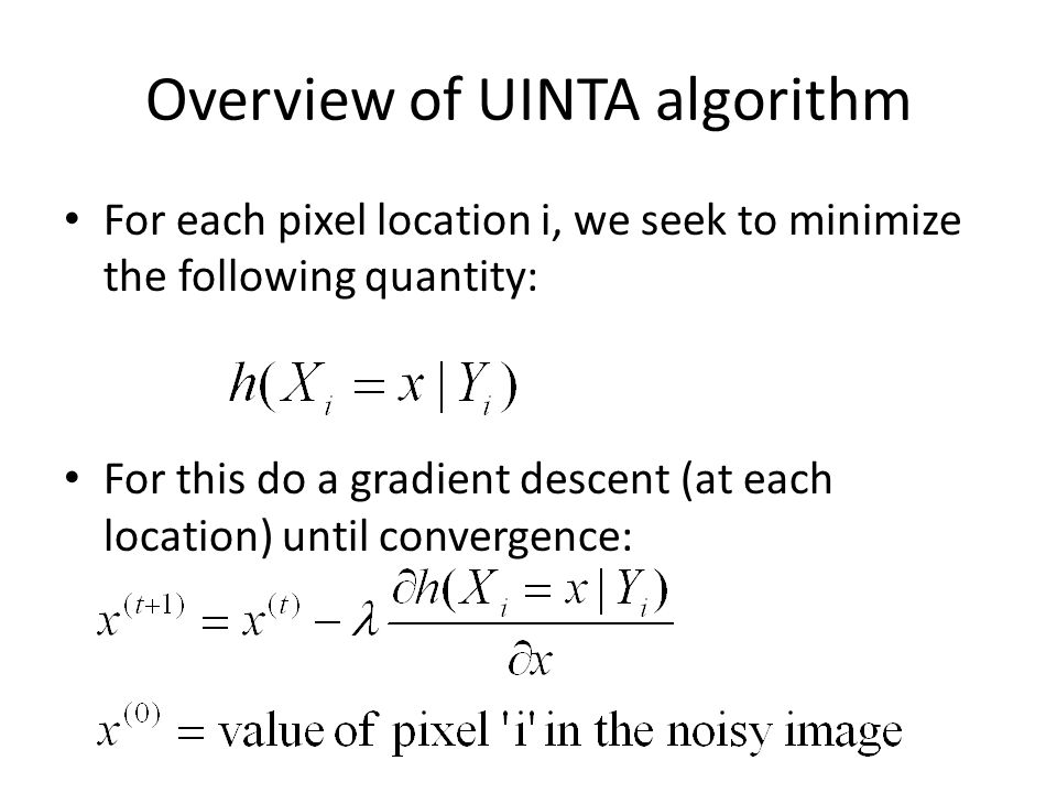 Overview of UINTA algorithm For each pixel location i, we seek to minimize the following quantity: For this do a gradient descent (at each location) until convergence: