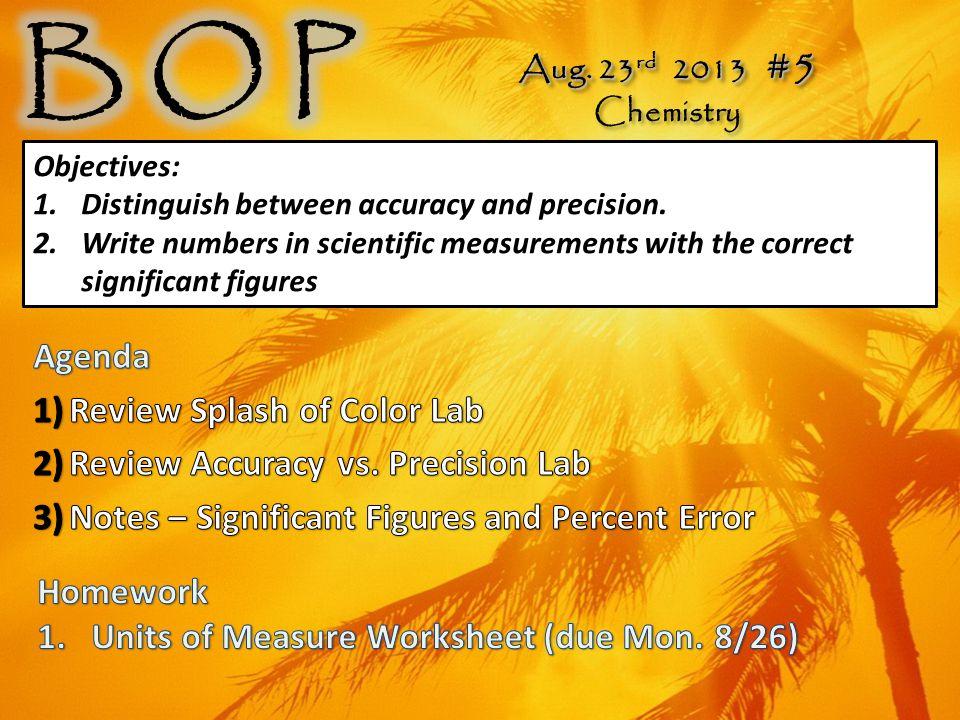 Aug. 23 rd 2013 #5 Chemistry Aug.