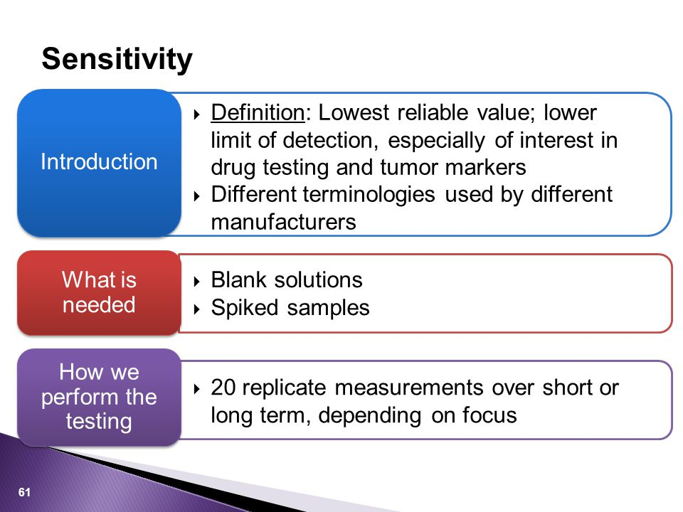 Sensitivity  Definition: Lowest reliable value; lower limit of detection, especially of interest in drug testing and tumor markers  Different termin