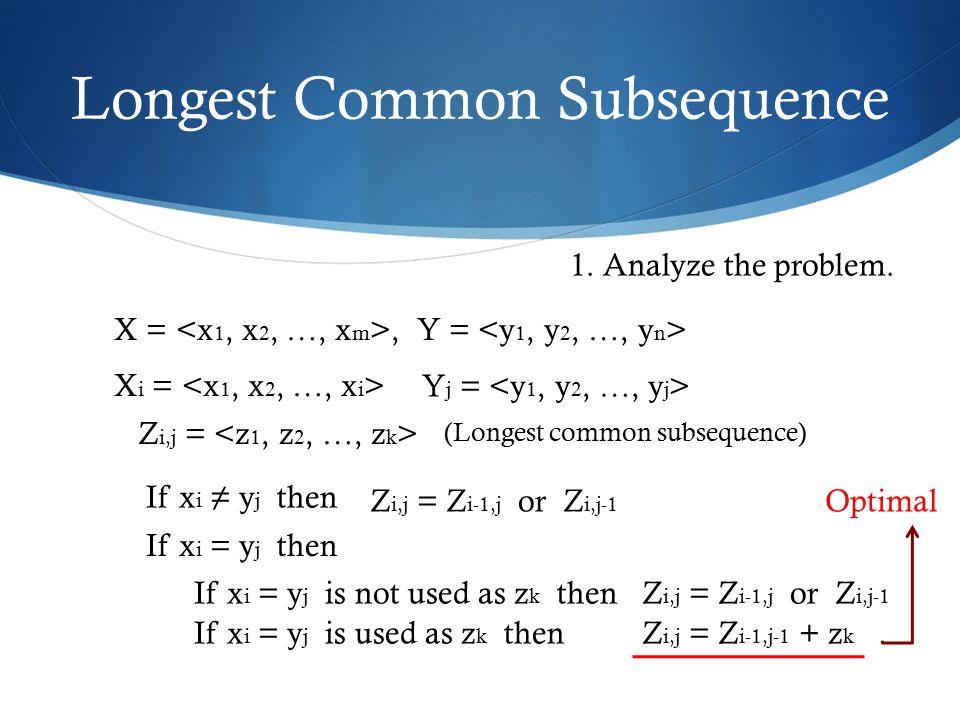 Longest Common Subsequence X =, Y = X i = Y j = Z i,j = (Longest common subsequence) 1. Analyze the problem. If x i = y j then / Z i,j = Z i-1,j or Z
