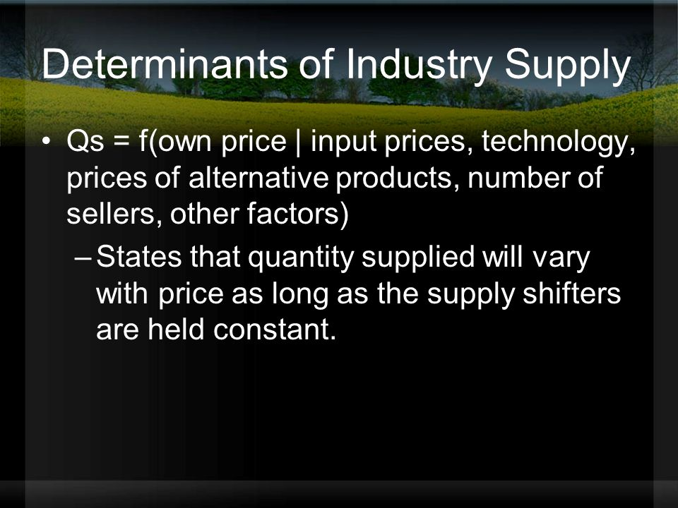 Determinants of Industry Supply Qs = f(own price | input prices, technology, prices of alternative products, number of sellers, other factors) –States that quantity supplied will vary with price as long as the supply shifters are held constant.
