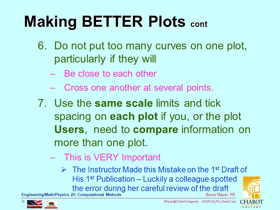 BMayer@ChabotCollege.edu ENGR-25_Plot_Model-2.ppt 29 Bruce Mayer, PE Engineering/Math/Physics 25: Computational Methods Making BETTER Plots cont 6.Do