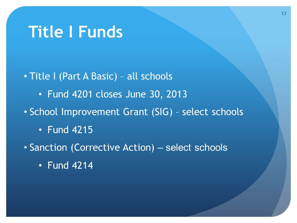 Title I Funds Title I (Part A Basic) – all schools Fund 4201 closes June 30, 2013 School Improvement Grant (SIG) – select schools Fund 4215 Sanction (