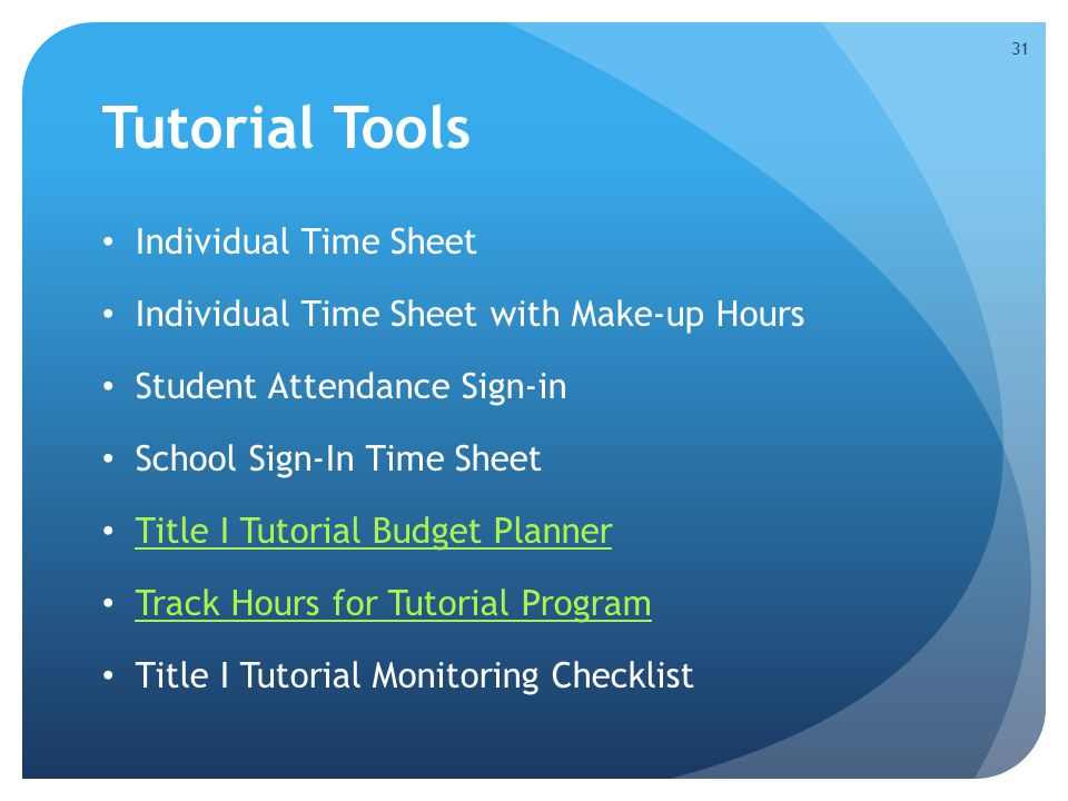 Tutorial Tools Individual Time Sheet Individual Time Sheet with Make-up Hours Student Attendance Sign-in School Sign-In Time Sheet Title I Tutorial Bu