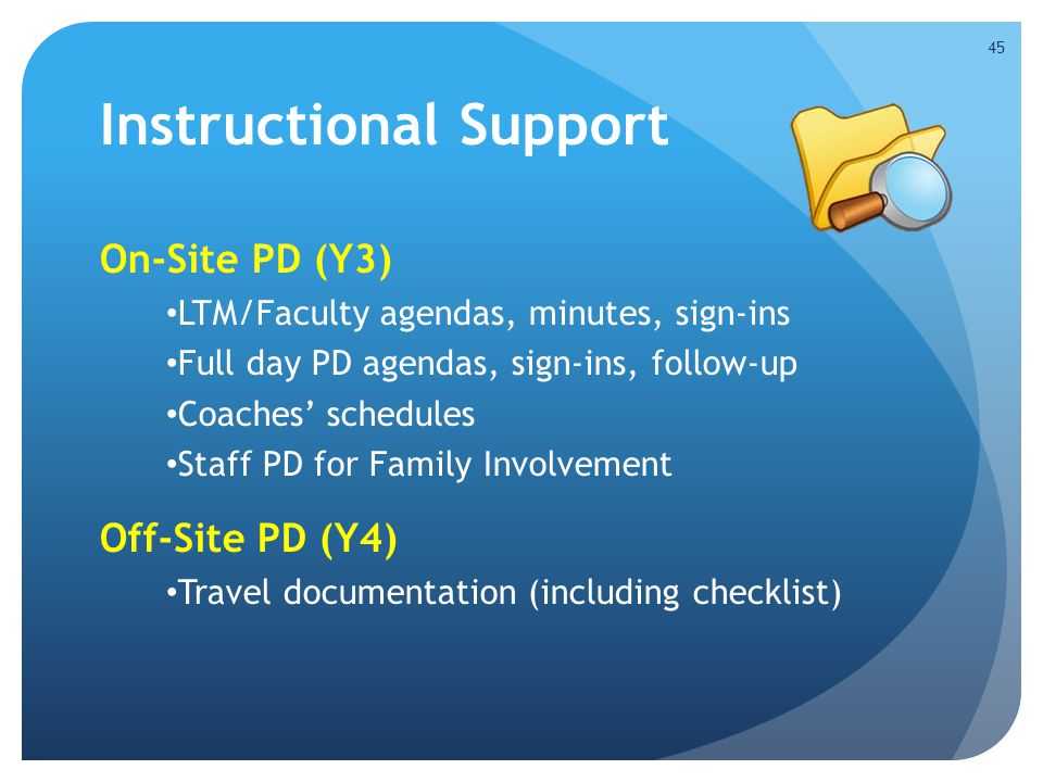 Instructional Support On-Site PD (Y3) LTM/Faculty agendas, minutes, sign-ins Full day PD agendas, sign-ins, follow-up Coaches' schedules Staff PD for