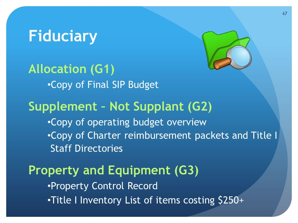 Fiduciary Allocation (G1) Copy of Final SIP Budget Supplement – Not Supplant (G2) Copy of operating budget overview Copy of Charter reimbursement pack