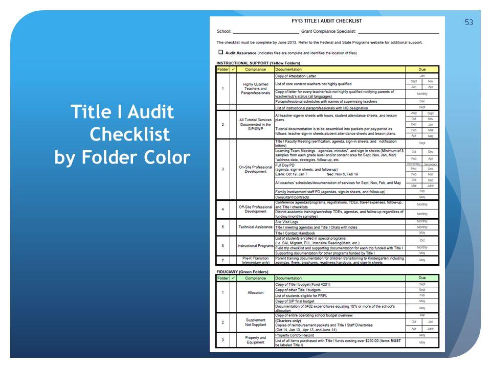 Title I Audit Checklist by Folder Color 53