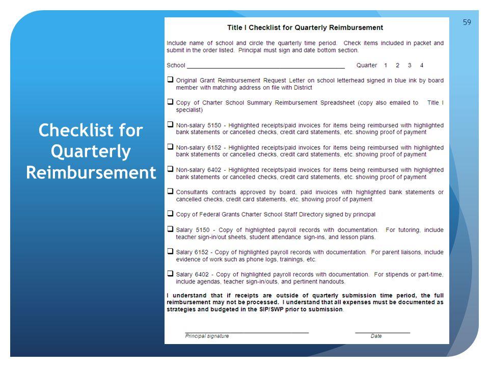 Checklist for Quarterly Reimbursement 59