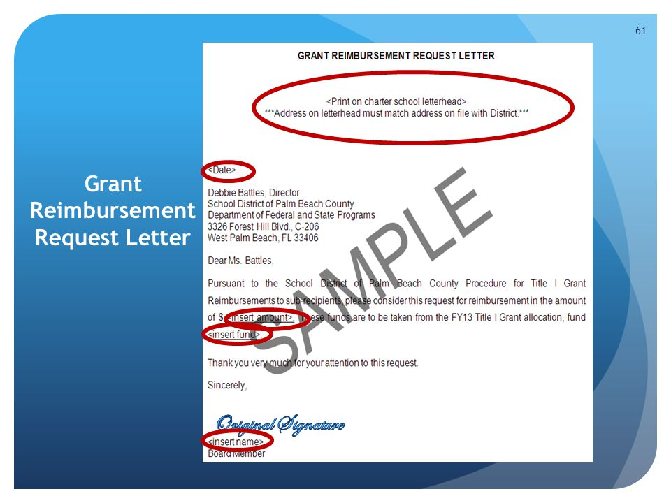 Grant Reimbursement Request Letter 61