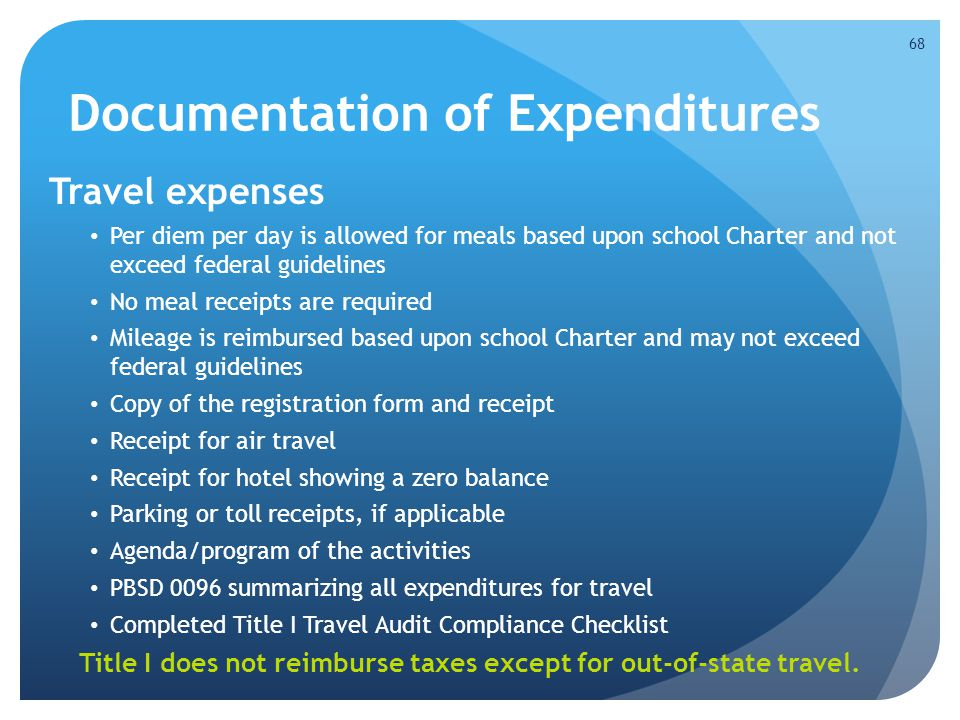 Documentation of Expenditures Travel expenses Per diem per day is allowed for meals based upon school Charter and not exceed federal guidelines No mea