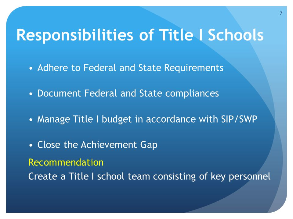 Responsibilities of Title I Schools Adhere to Federal and State Requirements Document Federal and State compliances Manage Title I budget in accordanc