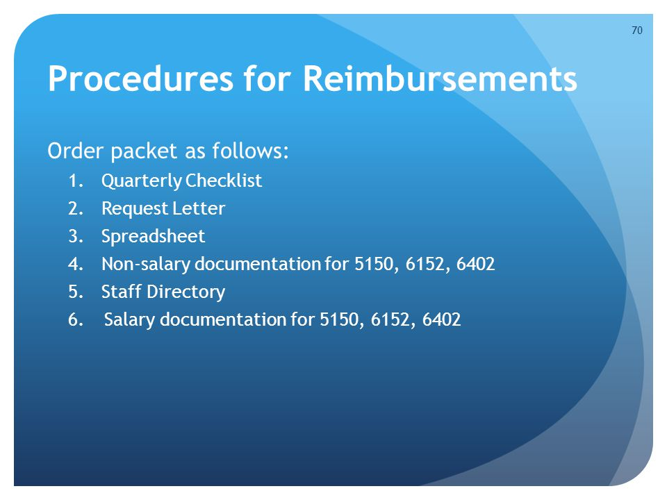 Procedures for Reimbursements Order packet as follows: 1.Quarterly Checklist 2.Request Letter 3.Spreadsheet 4.Non-salary documentation for 5150, 6152,