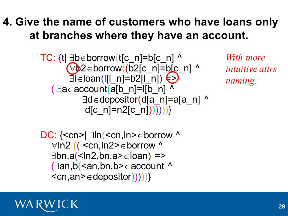 29 4. Give the name of customers who have loans only at branches where they have an account. TC: {t|  b  borrow(t[c_n]=b[c_n] ^  b2  borrow((b2[c_