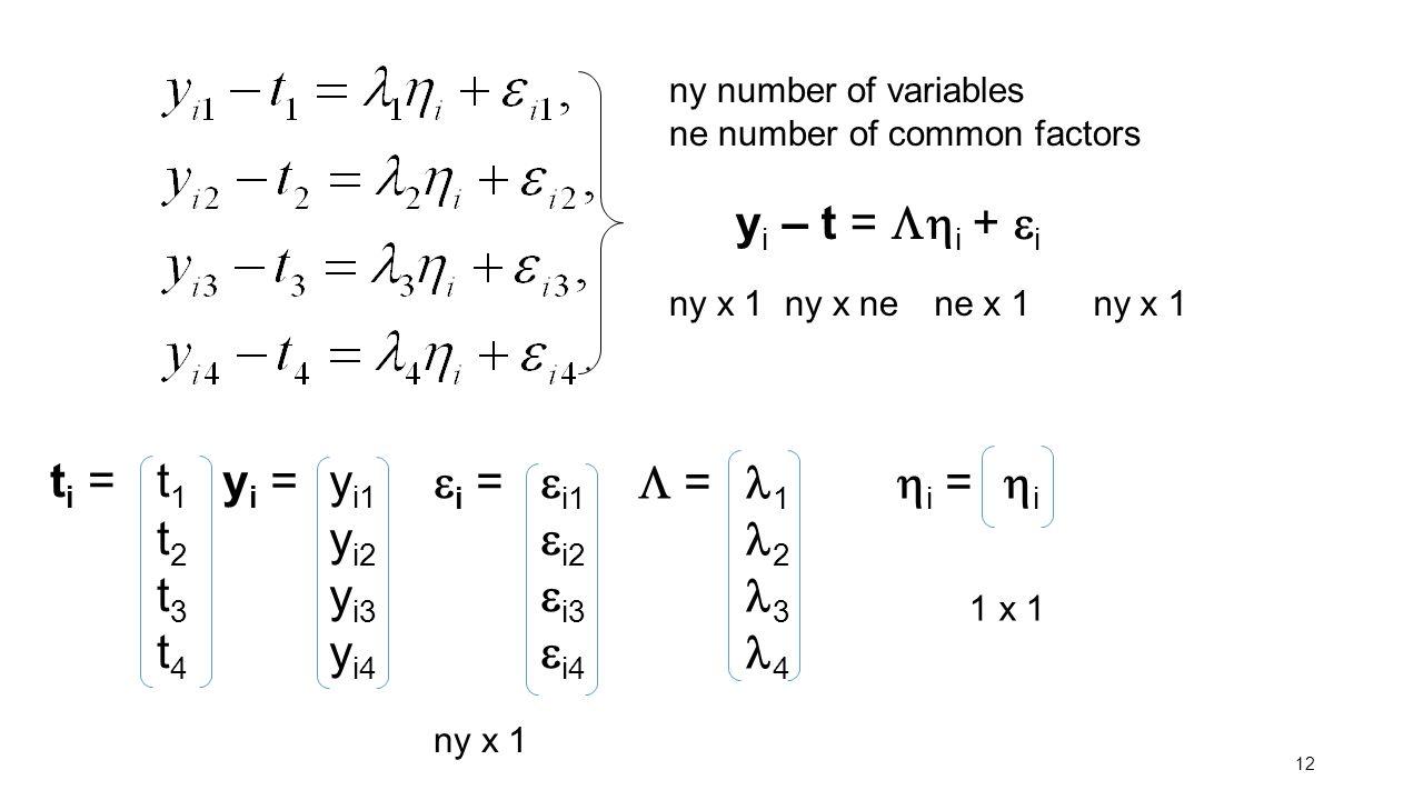 12 y i – t =  i +  i y i = y i1 y i2 y i3 y i4  i =  i1  i2  i3  i4  = 1 2 3 4  i =  i ny x 1 1 x 1 ny x 1ny x ne ne x 1 ny x 1 ny number o