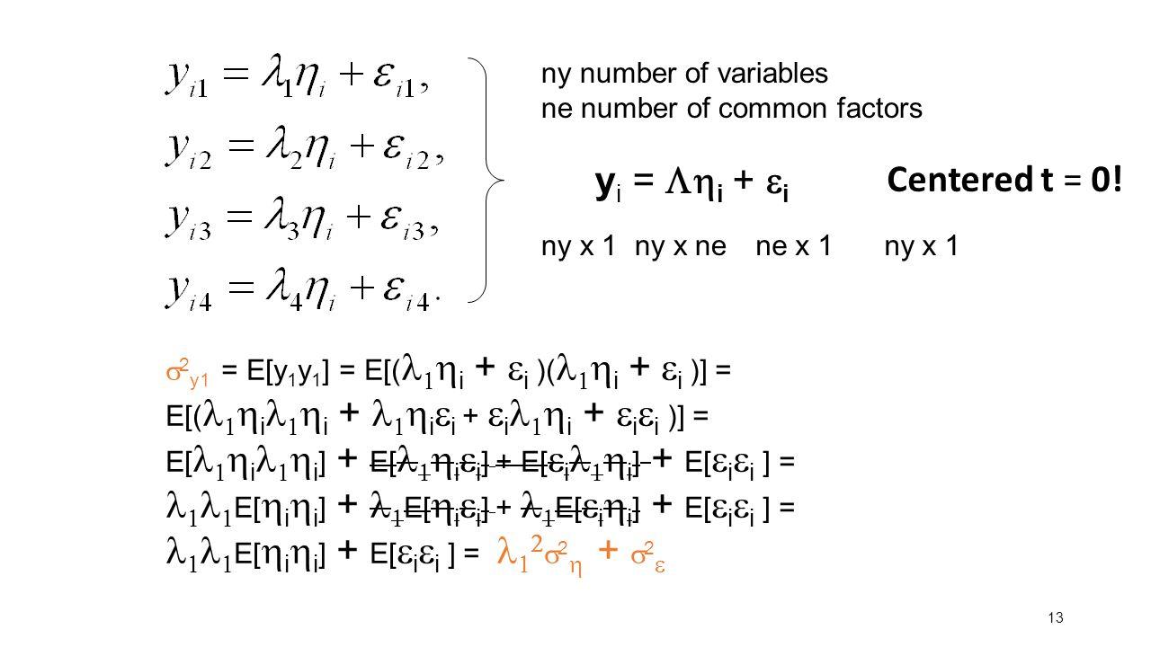 13 y i =  i +  i ny x 1ny x ne ne x 1 ny x 1 ny number of variables ne number of common factors  2 y1 = E[y 1 y 1 ] = E[(   i +  i )(   i + 