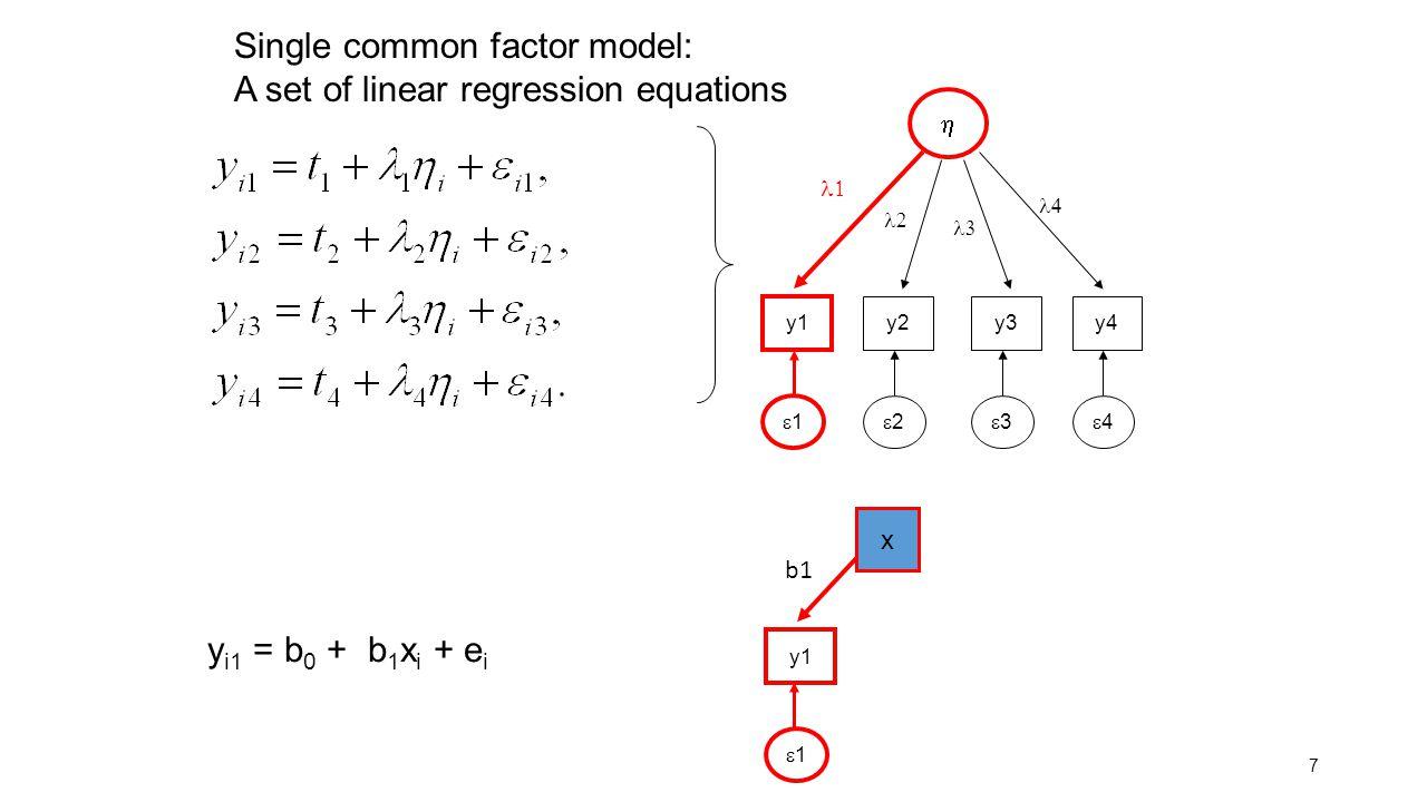 8 y i1 =  1 + 1  i + e i y1 11  y 22 1  2  y 1 2  2  +  2  The implied model for the covariance matrix:  Mean(y 1 )=  1 + 1 Mean(  ) =  1 R 2 = ( 1 2 *  2  ) / ( 1 2 *  2  +  2  )