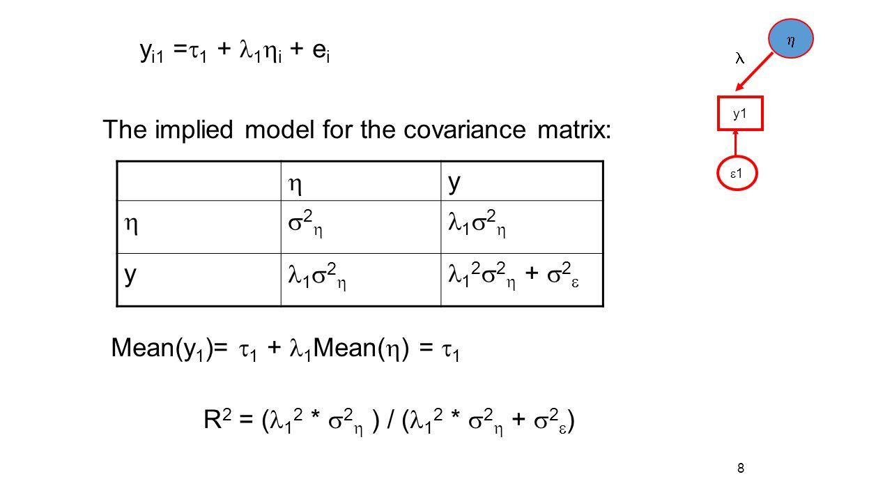 8 y i1 =  1 + 1  i + e i y1 11  y 22 1  2  y 1 2  2  +  2  The implied model for the covariance matrix:  Mean(y 1 )=  1 + 1 Mean( 