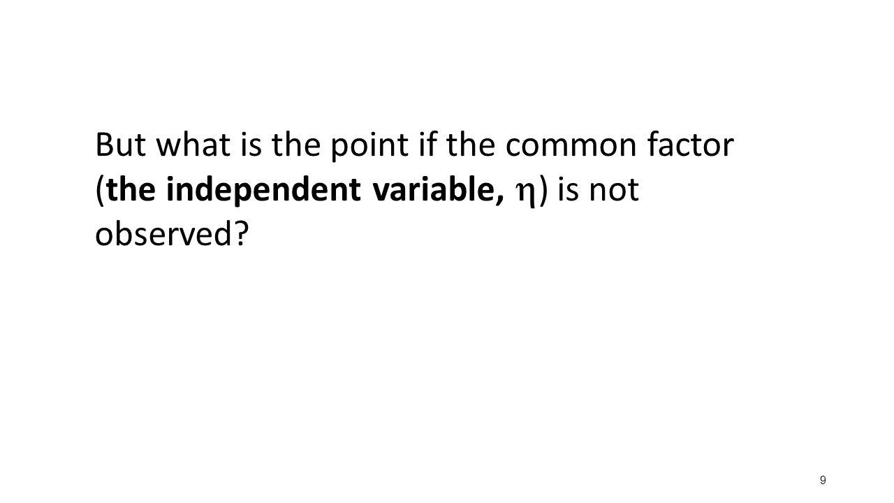 10 Single common factor model: A set of linear regression equations Implies a covariance matrix:  y1 11 y2 22 y3 33 y4 44        