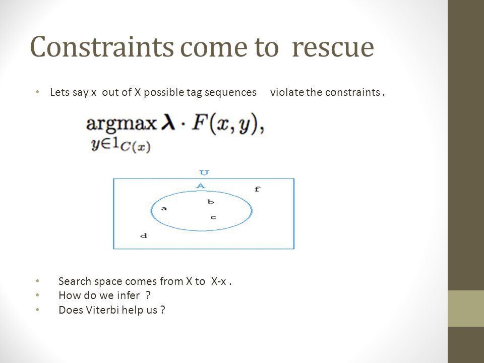 Constraints come to rescue Lets say x out of X possible tag sequences violate the constraints. Search space comes from X to X-x. How do we infer ? Doe