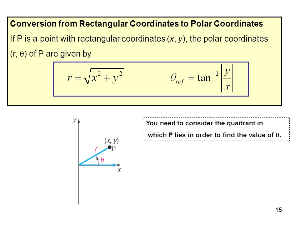 15 Conversion from Rectangular Coordinates to Polar Coordinates If P is a point with rectangular coordinates (x, y), the polar coordinates (r,  ) of