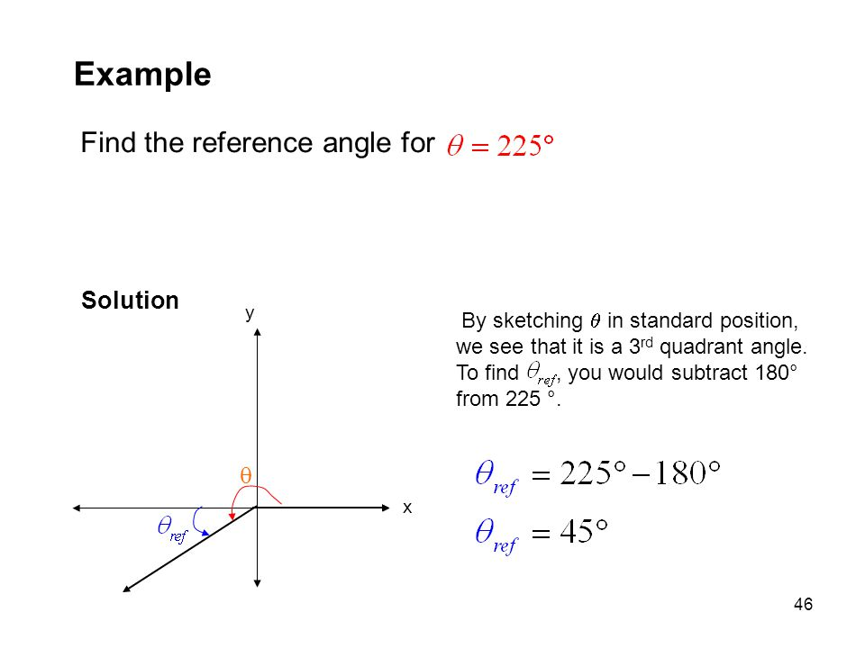 46 Example Find the reference angle for Solution y x  By sketching  in standard position, we see that it is a 3 rd quadrant angle. To find, you woul
