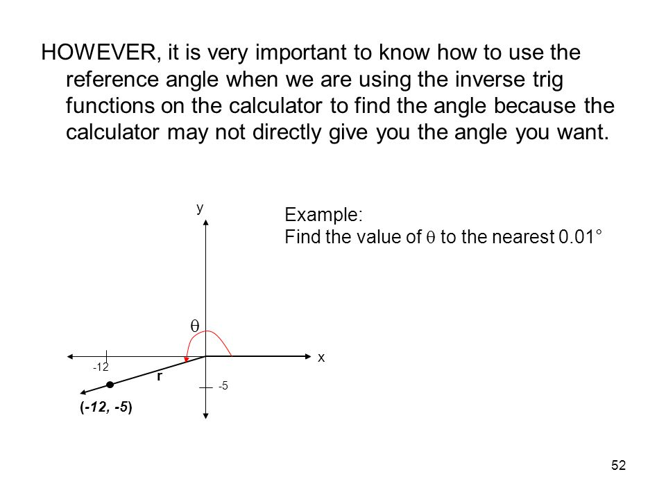 52 HOWEVER, it is very important to know how to use the reference angle when we are using the inverse trig functions on the calculator to find the ang