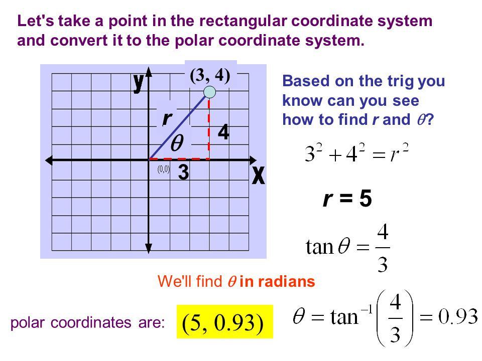 Let's take a point in the rectangular coordinate system and convert it to the polar coordinate system. (3, 4) r  Based on the trig you know can you s