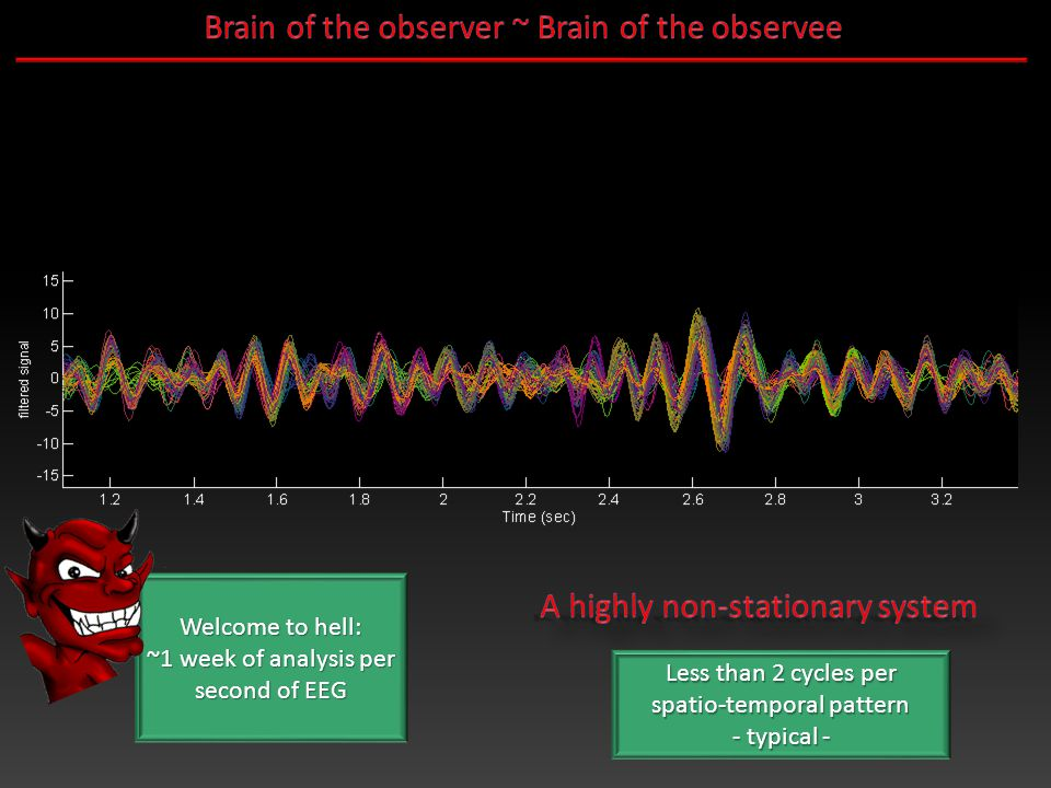 Welcome to hell: ~1 week of analysis per second of EEG Less than 2 cycles per spatio-temporal pattern - typical -