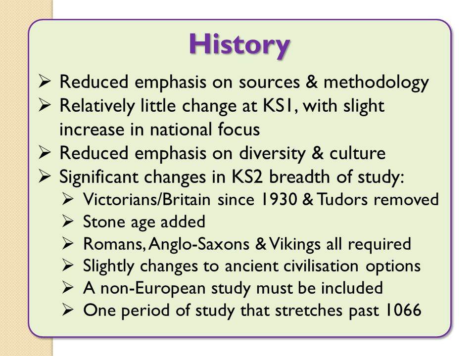 History  Reduced emphasis on sources & methodology  Relatively little change at KS1, with slight increase in national focus  Reduced emphasis on di
