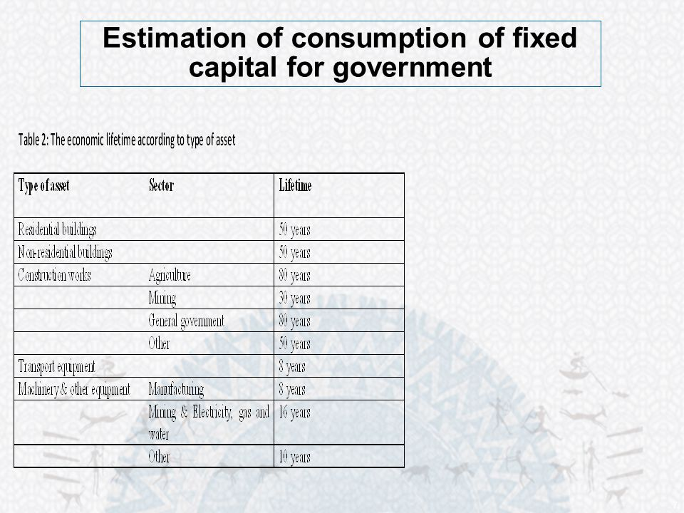 7 Estimation of consumption of fixed capital for government