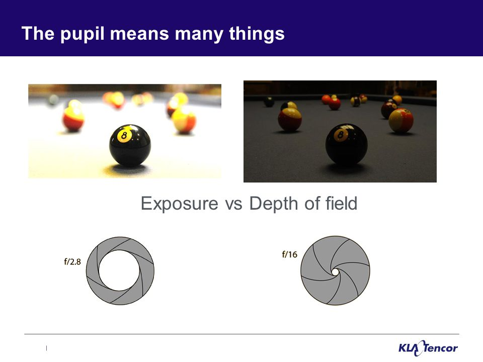 The pupil means many things Exposure vs Depth of field