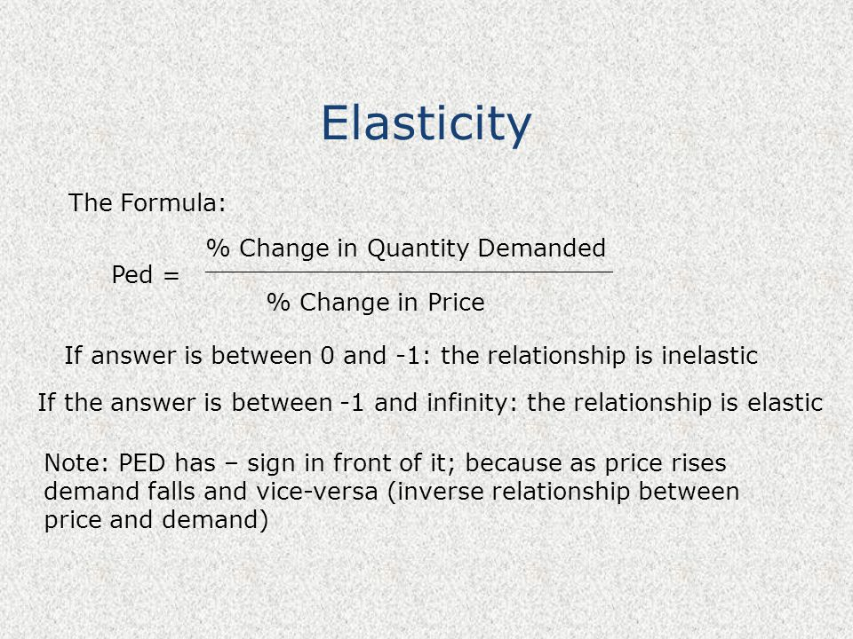 Elasticity The Formula: Ped = % Change in Quantity Demanded ___________________________ % Change in Price If answer is between 0 and -1: the relations