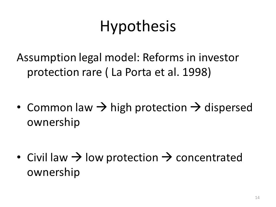 Hypothesis Assumption legal model: Reforms in investor protection rare ( La Porta et al. 1998) Common law  high protection  dispersed ownership Civi
