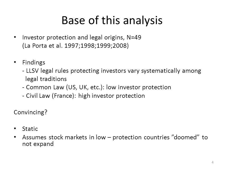 Base of this analysis Investor protection and legal origins, N=49 (La Porta et al. 1997;1998;1999;2008) Findings - LLSV legal rules protecting investo