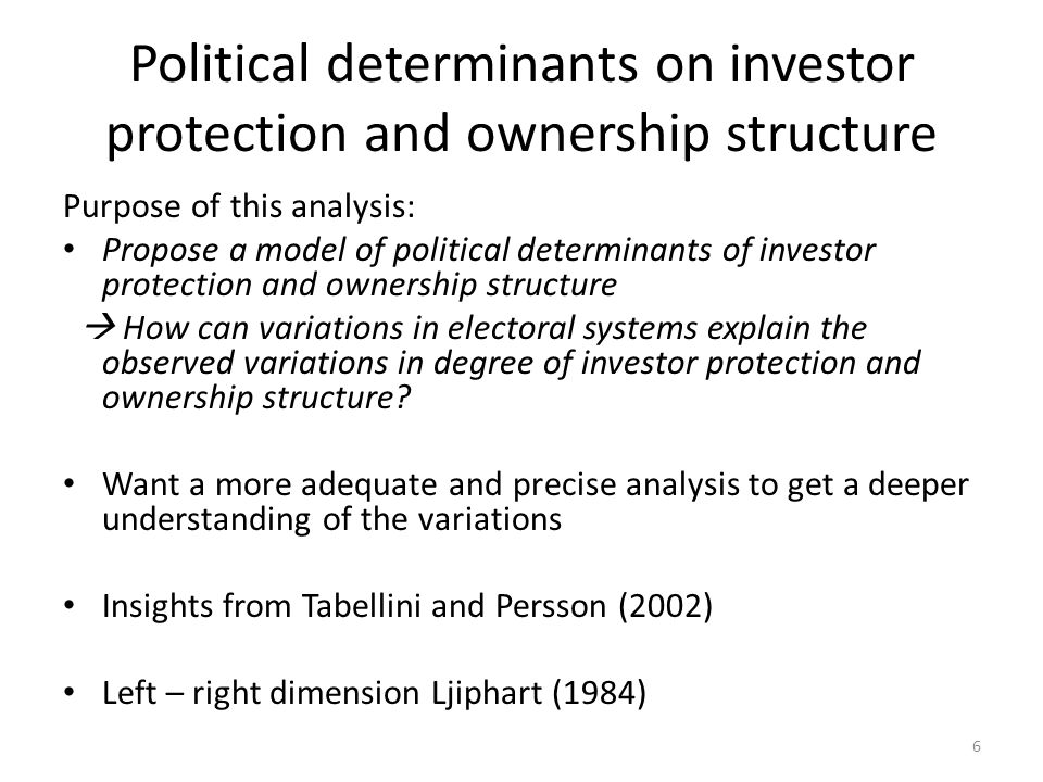 Base – political determinants The Political Economy of Corporate Governance (Pagano and Volpin 2005) Analyze political determinants of investor protection Investor protection exogenous Pol.var.