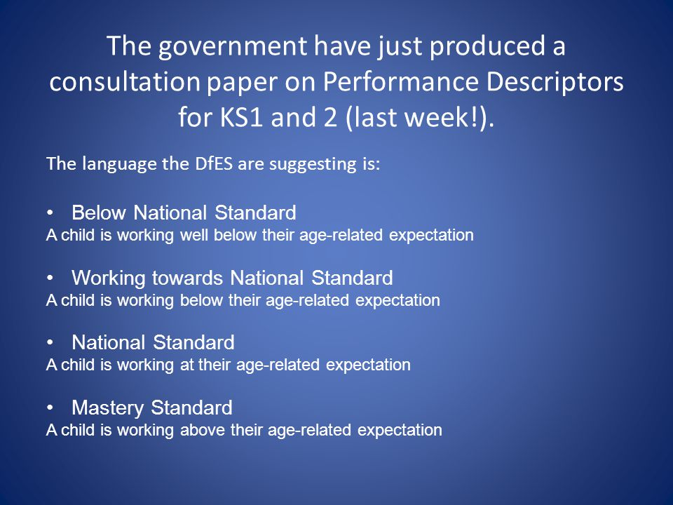 The government have just produced a consultation paper on Performance Descriptors for KS1 and 2 (last week!). The language the DfES are suggesting is: