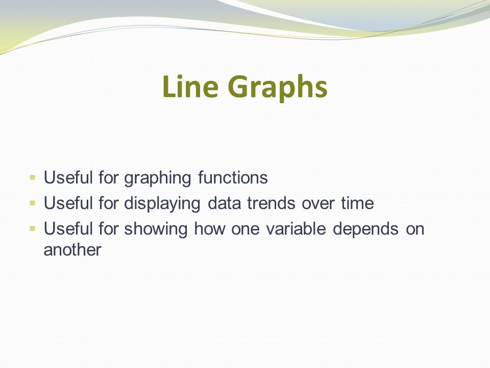 Line Graphs  Useful for graphing functions  Useful for displaying data trends over time  Useful for showing how one variable depends on another