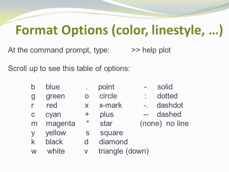 Format Options (color, linestyle, …) At the command prompt, type: >> help plot Scroll up to see this table of options: b blue.