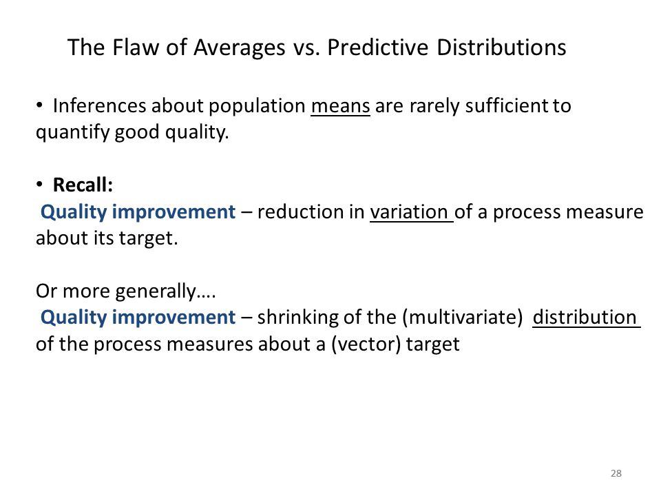 28 The Flaw of Averages vs. Predictive Distributions Inferences about population means are rarely sufficient to quantify good quality. Recall: Quality