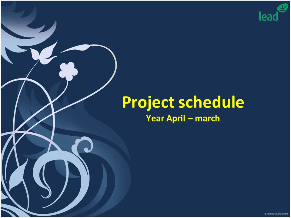 Project schedule Year April – march