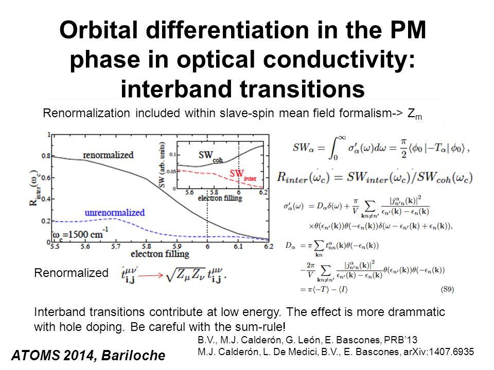 Orbital differentiation in the PM phase in optical conductivity: interband transitions ATOMS 2014, Bariloche B.V., M.J. Calderón, G. León, E. Bascones