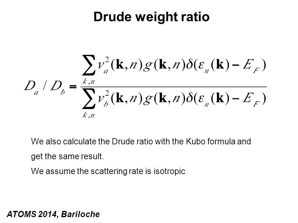 We also calculate the Drude ratio with the Kubo formula and get the same result. We assume the scattering rate is isotropic Drude weight ratio ATOMS 2