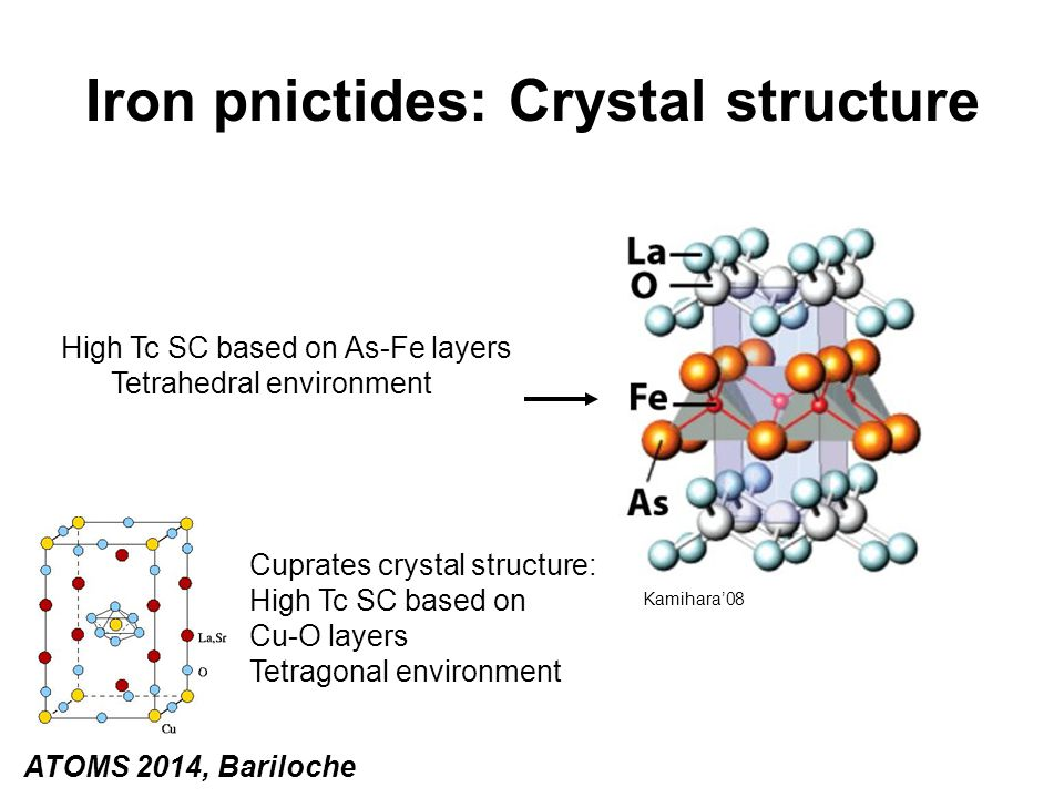Iron pnictides: Crystal structure High Tc SC based on As-Fe layers Tetrahedral environment Cuprates crystal structure: High Tc SC based on Cu-O layers
