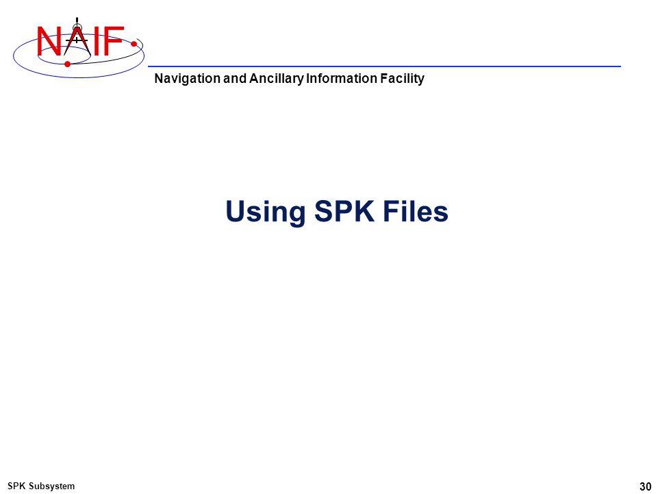 Navigation and Ancillary Information Facility NIF Using SPK Files SPK Subsystem 30