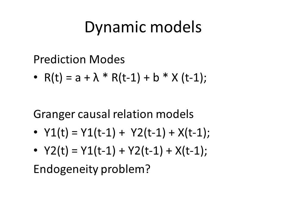 Dynamic models Prediction Modes R(t) = a + λ * R(t-1) + b * X (t-1); Granger causal relation models Y1(t) = Y1(t-1) + Y2(t-1) + X(t-1); Y2(t) = Y1(t-1