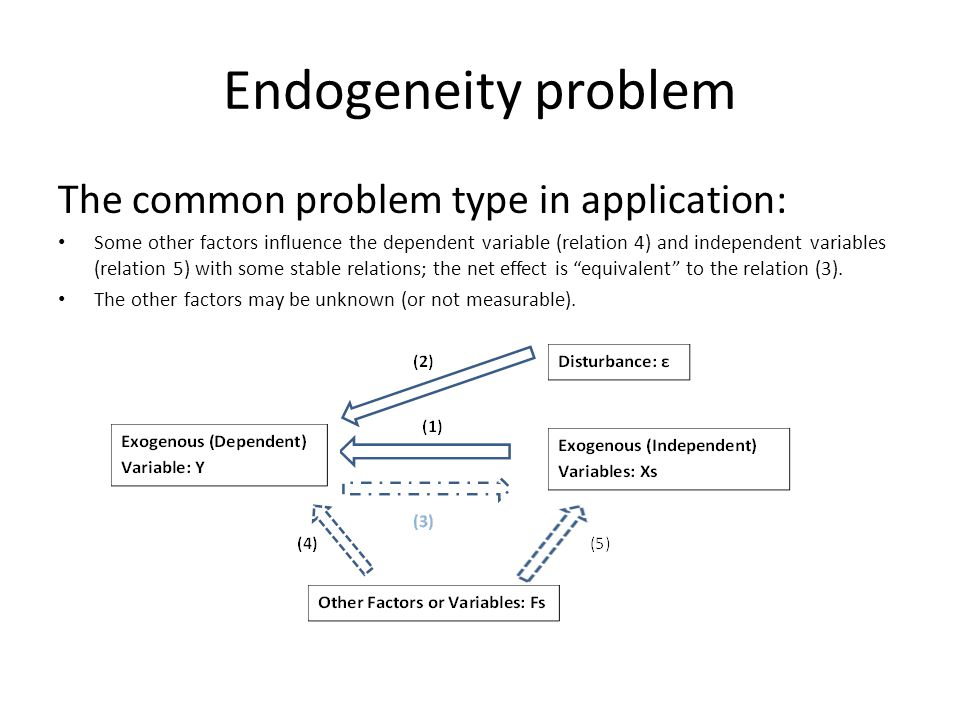 Endogeneity problem The common problem type in application: Some other factors influence the dependent variable (relation 4) and independent variables