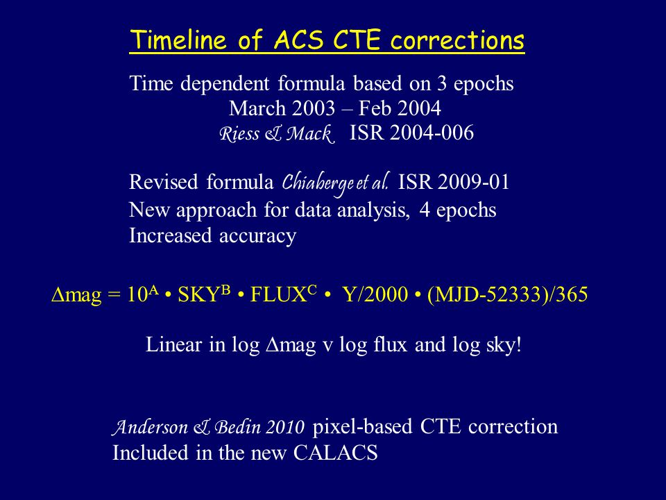 Timeline of ACS CTE corrections Time dependent formula based on 3 epochs March 2003 – Feb 2004 Riess & Mack ISR 2004-006 Revised formula Chiaberge et al.
